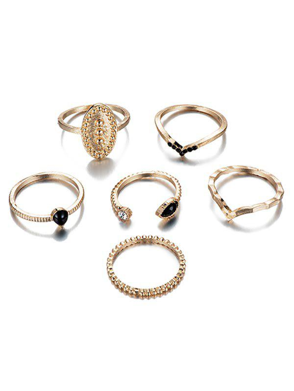 Fancy 6Pcs Rhinestoned Design Metal Rings Set
