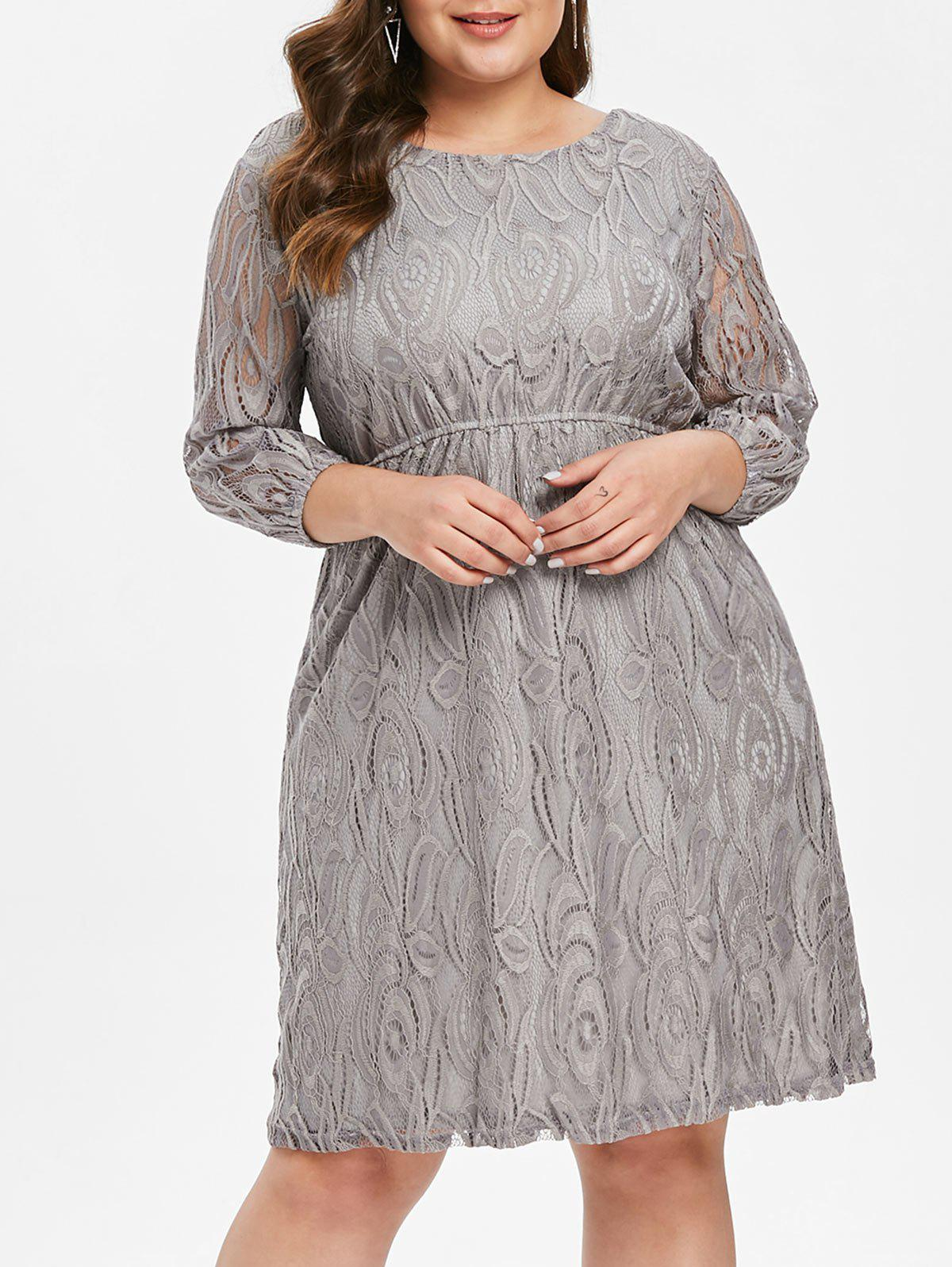 Shop Plus Size Three Quarter Sleeve Lace Dress
