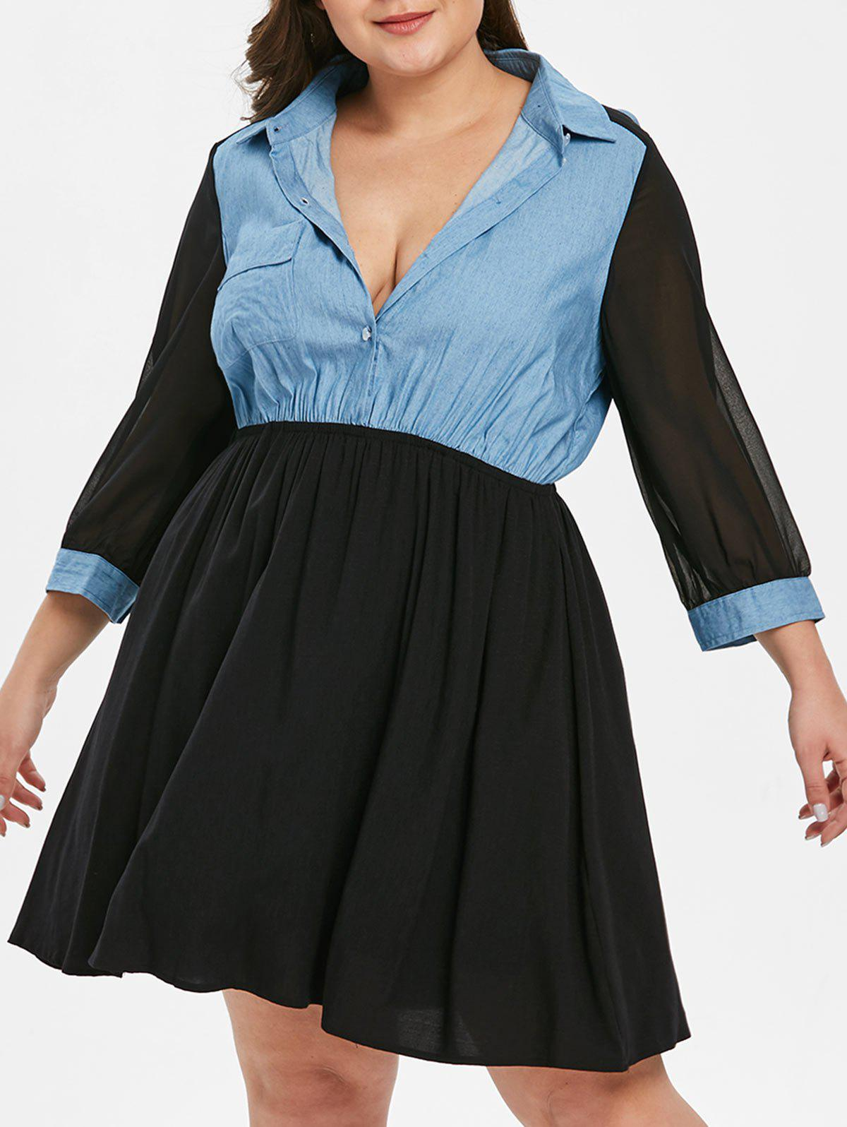 Fashion Plus Size Half Button Panel A Line Dress