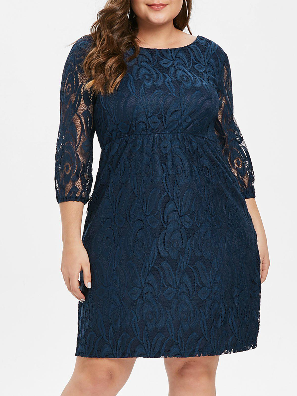 Plus Size Three Quarter Sleeve Lace Dress