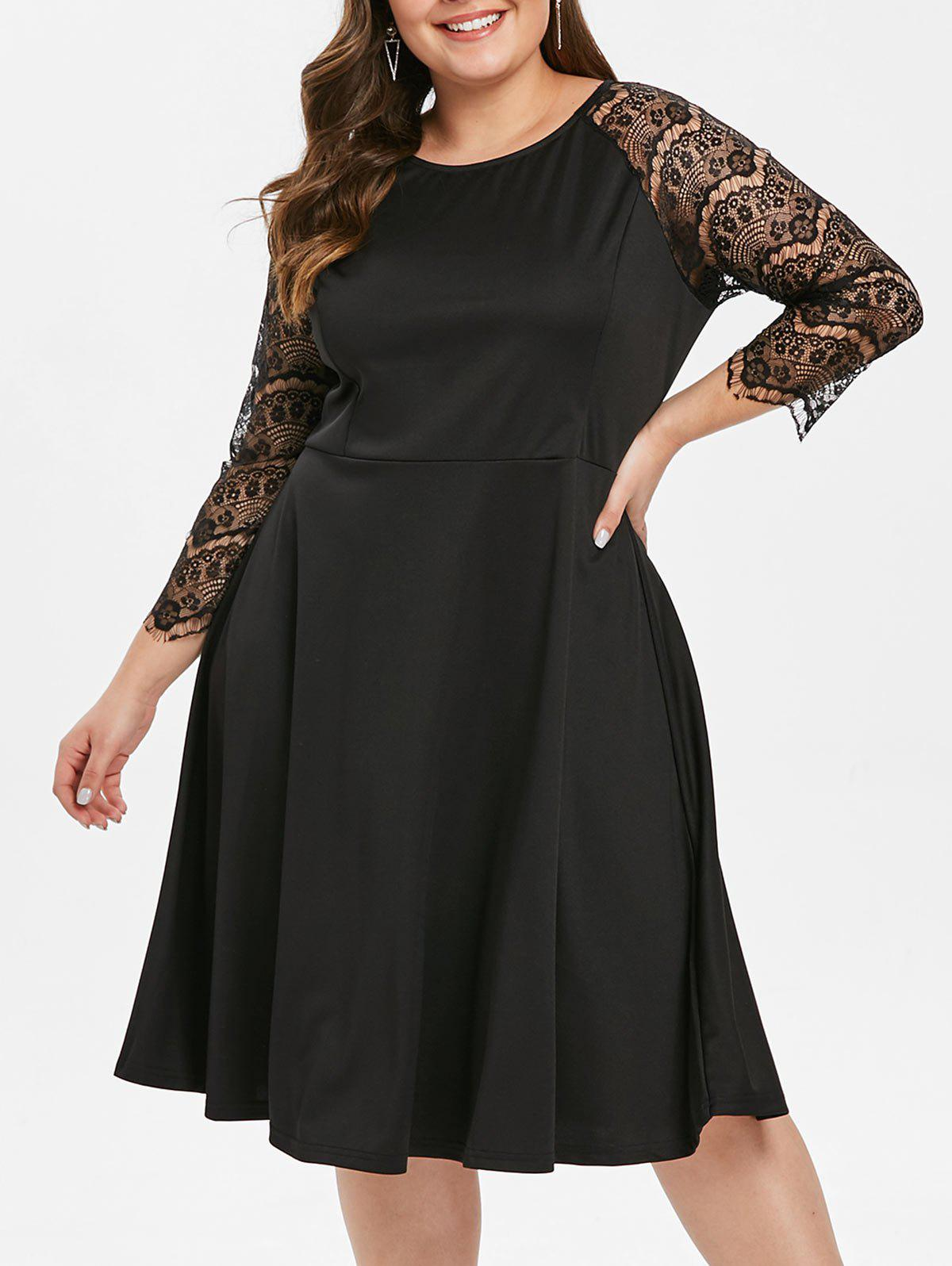 Chic Lace Panel Raglan Sleeve Plus Size Dress