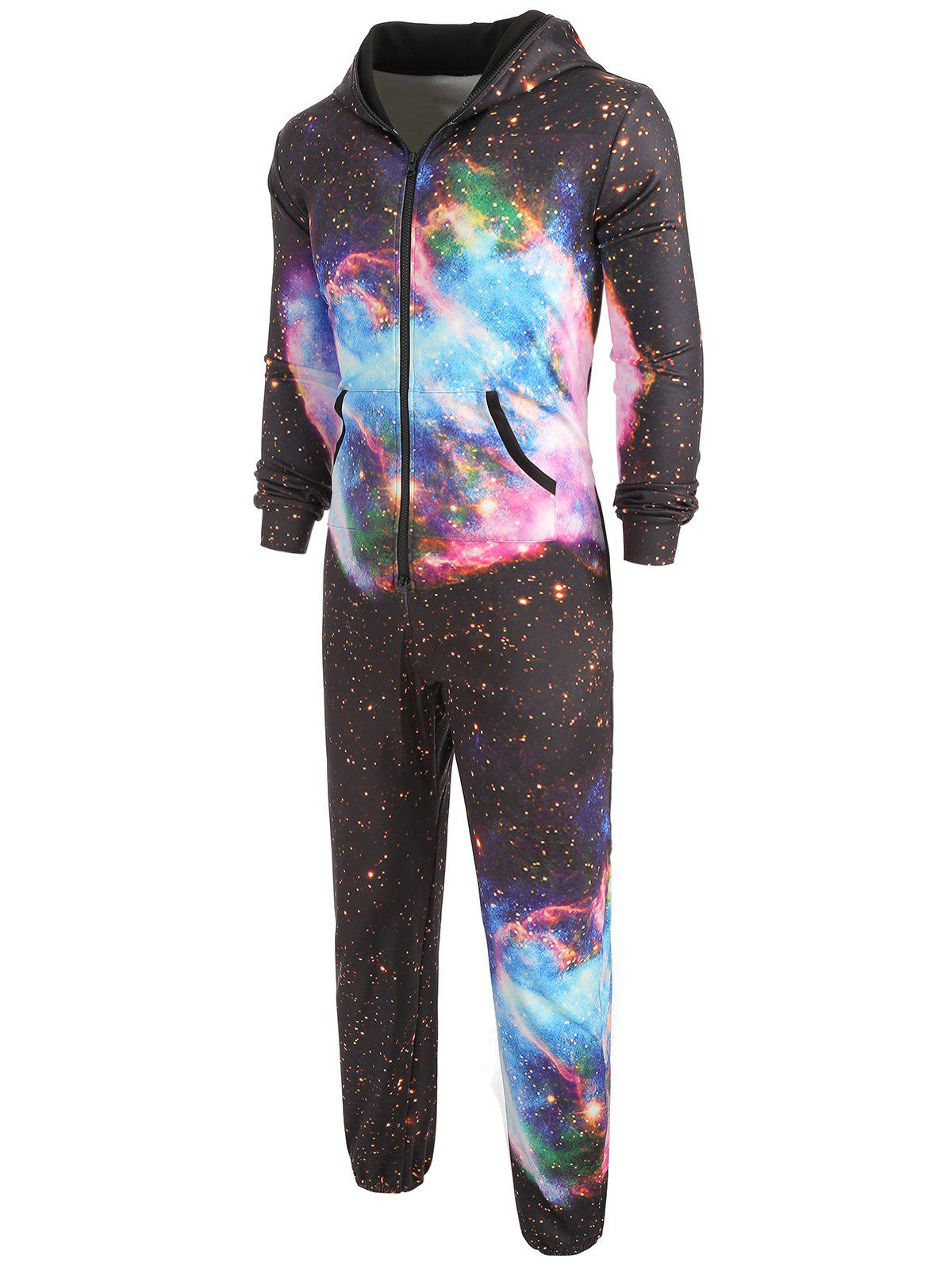 Outfit Galaxy Print Long Sleeves Hooded Romper