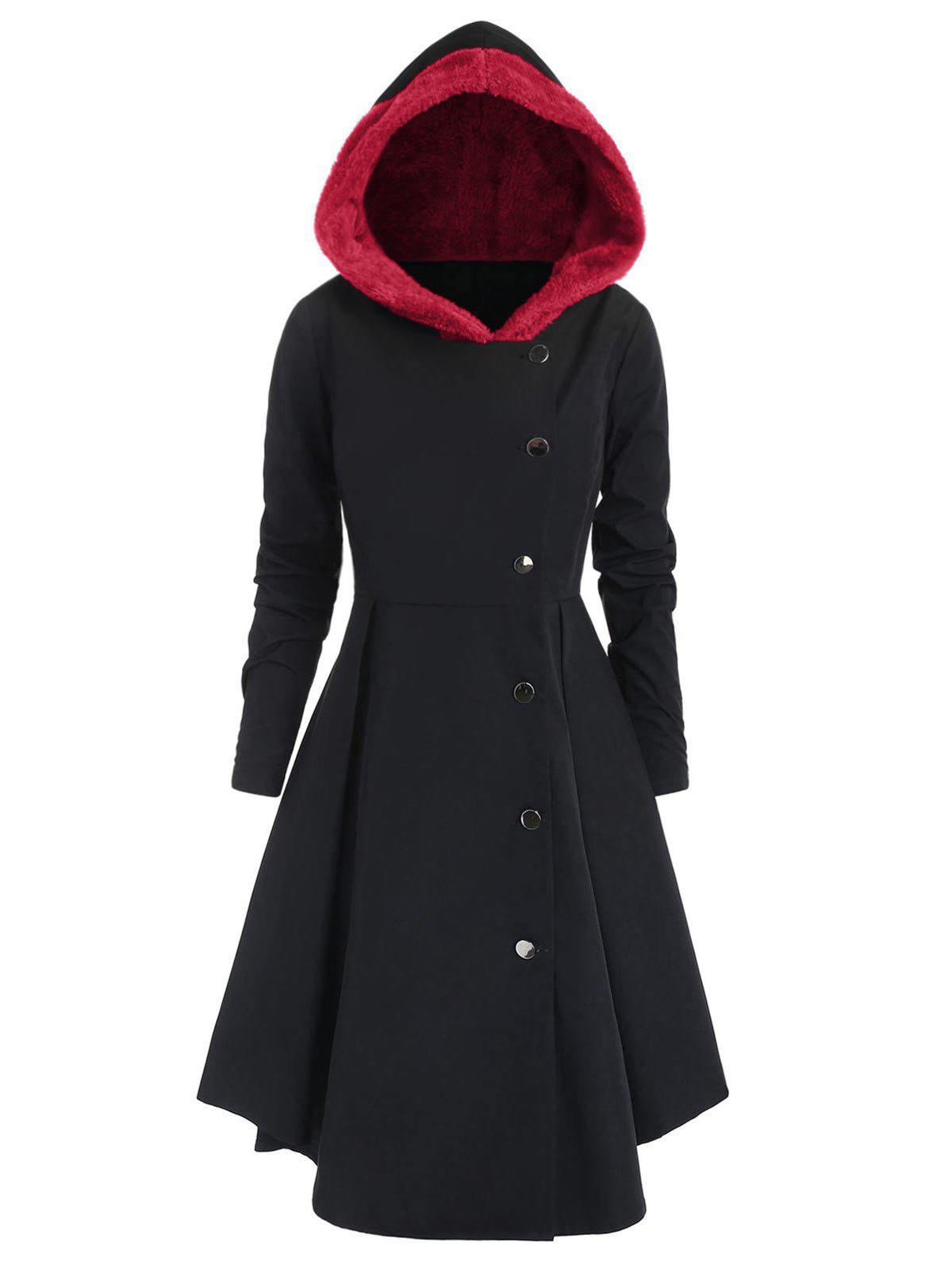Latest Plus Size Contrast Asymmetric Fleece Hooded Skirted Coat