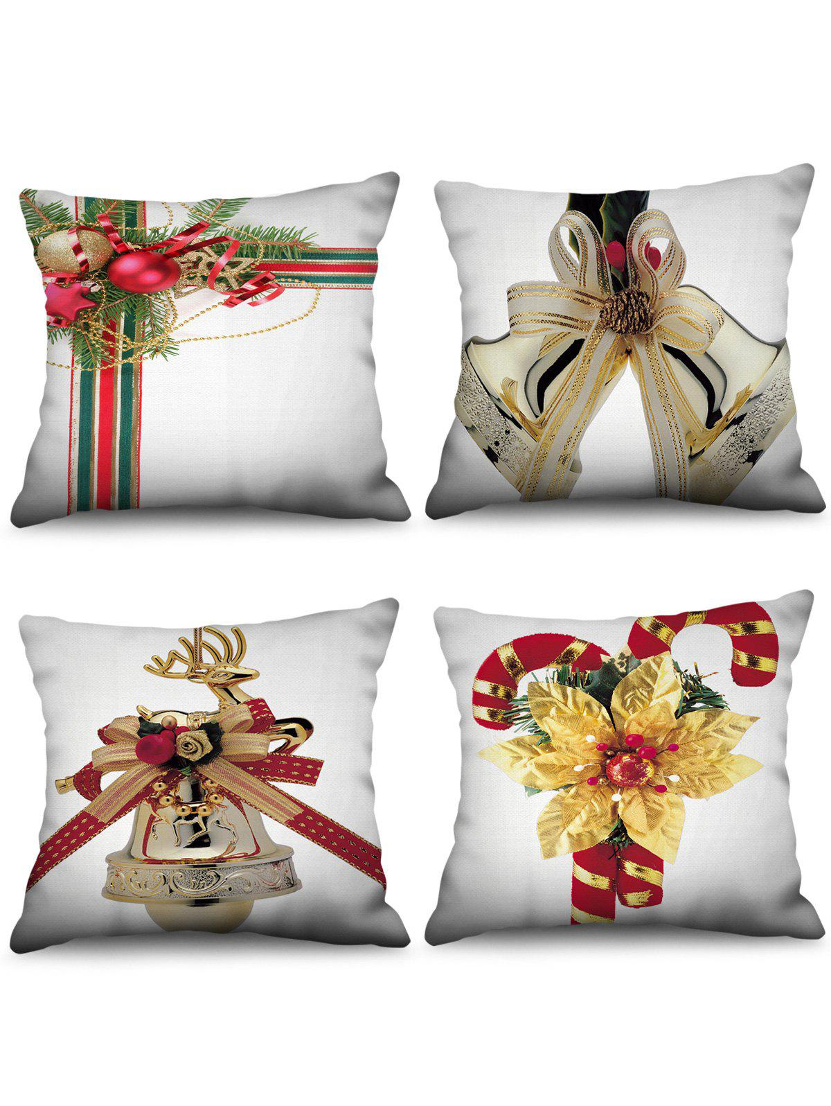 Online 4PCS Christmas Bell Candy Cane Printed Pillow Cover