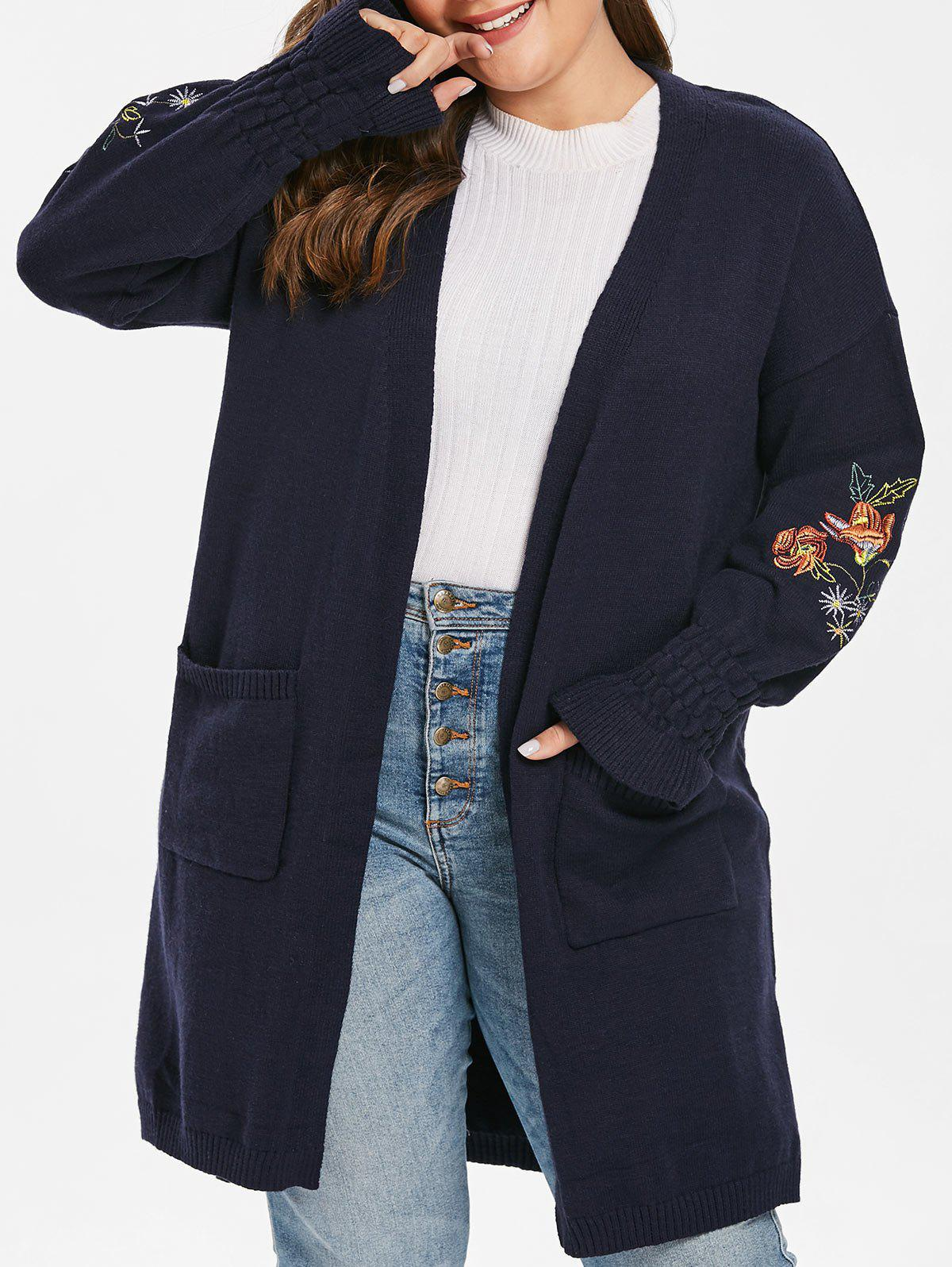 Chic Plus Size Flower Embroidered Pocket Slit Cardigan