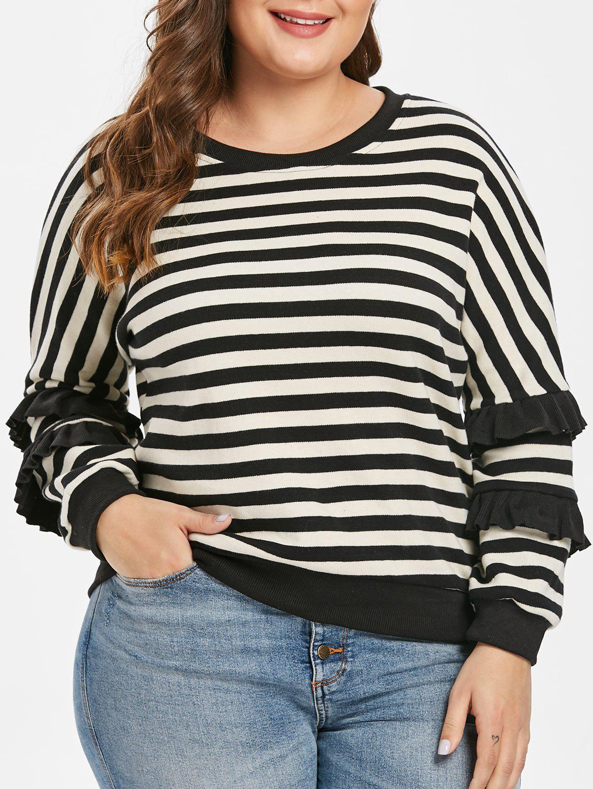 Fashion Plus Size Striped Ruffle Sweater