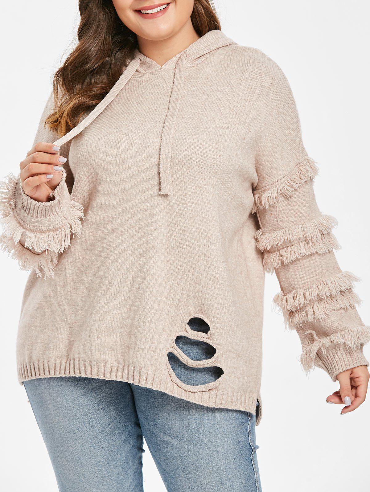 a4a916c81a Unique Plus Size Hooded Distressed Slit Sweater