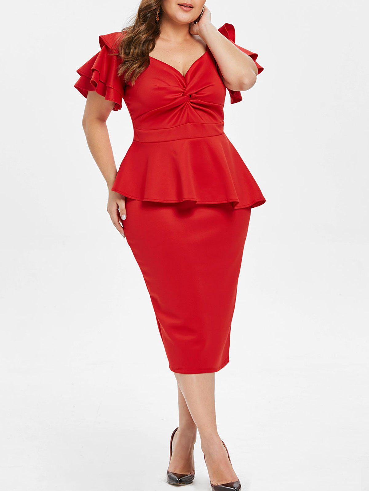 Twist Front Plus Size Peplum Dress