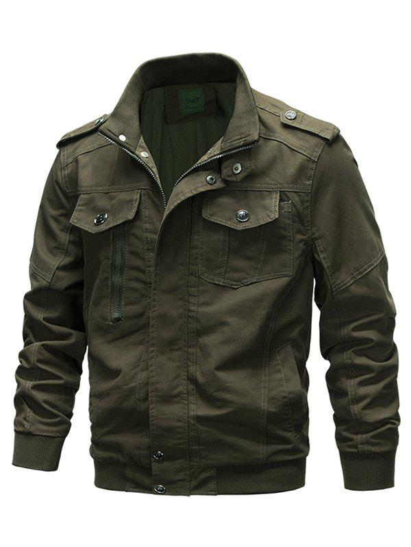 Discount Front Pocket Stand Collar Zipper Military Jacket