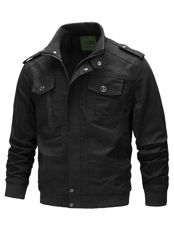 Trendy Front Pocket Stand Collar Zipper Military Jacket