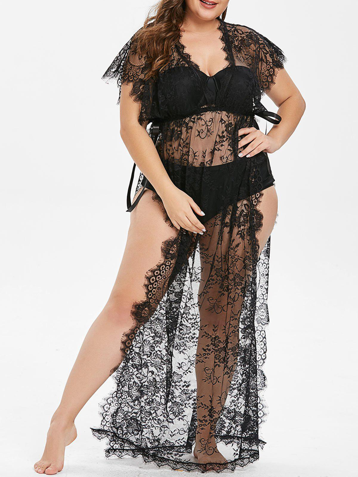 14409acda59 2019 Plus Size Side Slit Lace Lingerie Dress