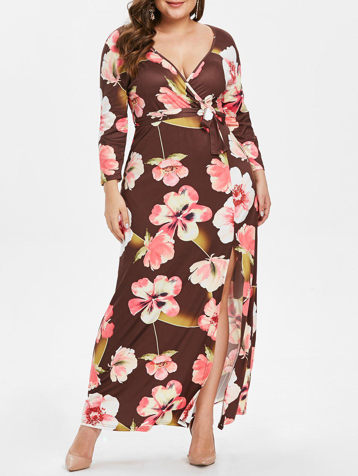 Affordable Plus Size Front Slit Floral Print Maxi Dress with Belt