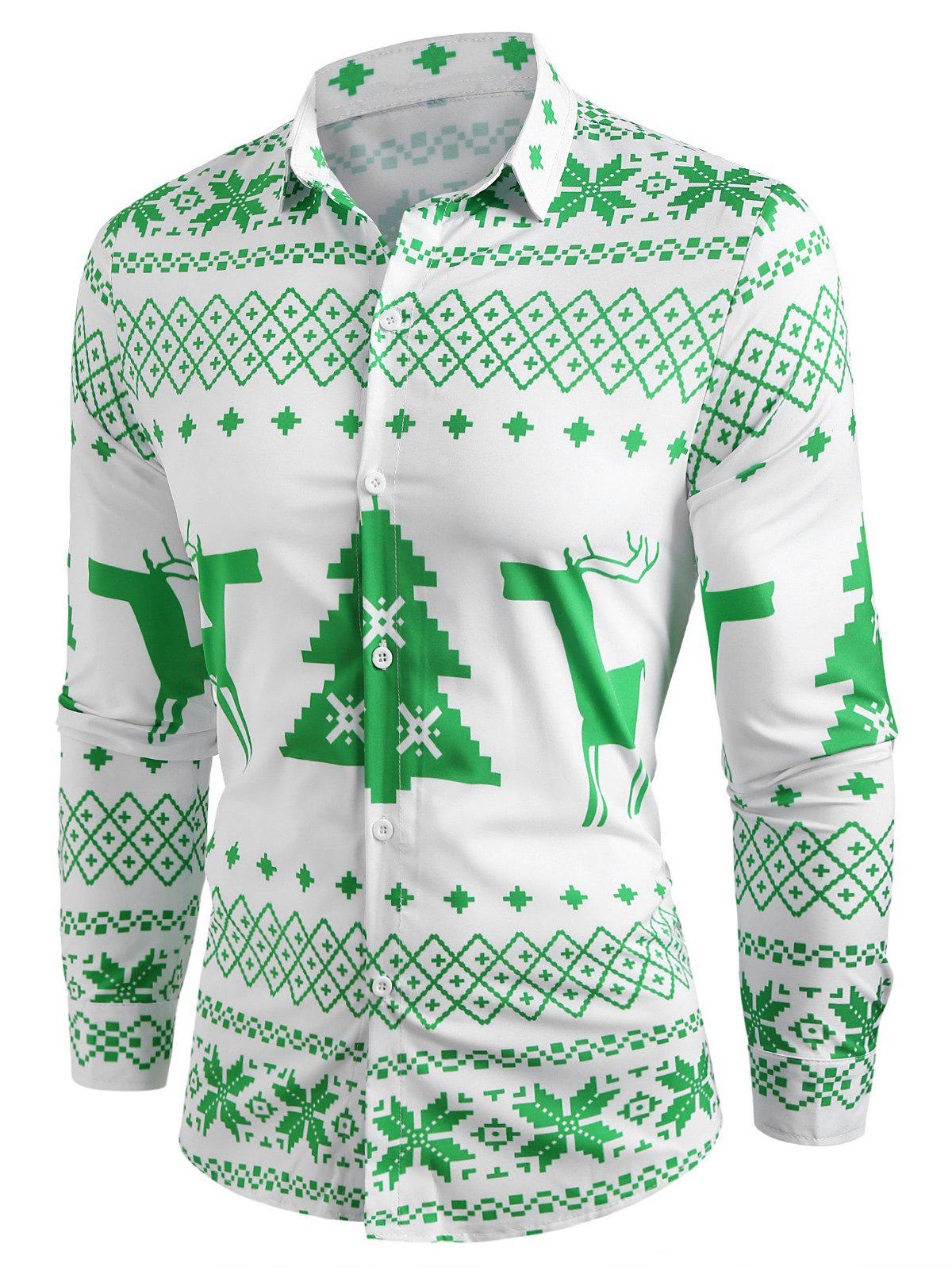 Shop Christmas Geometry Pattern Long Sleeve Shirt