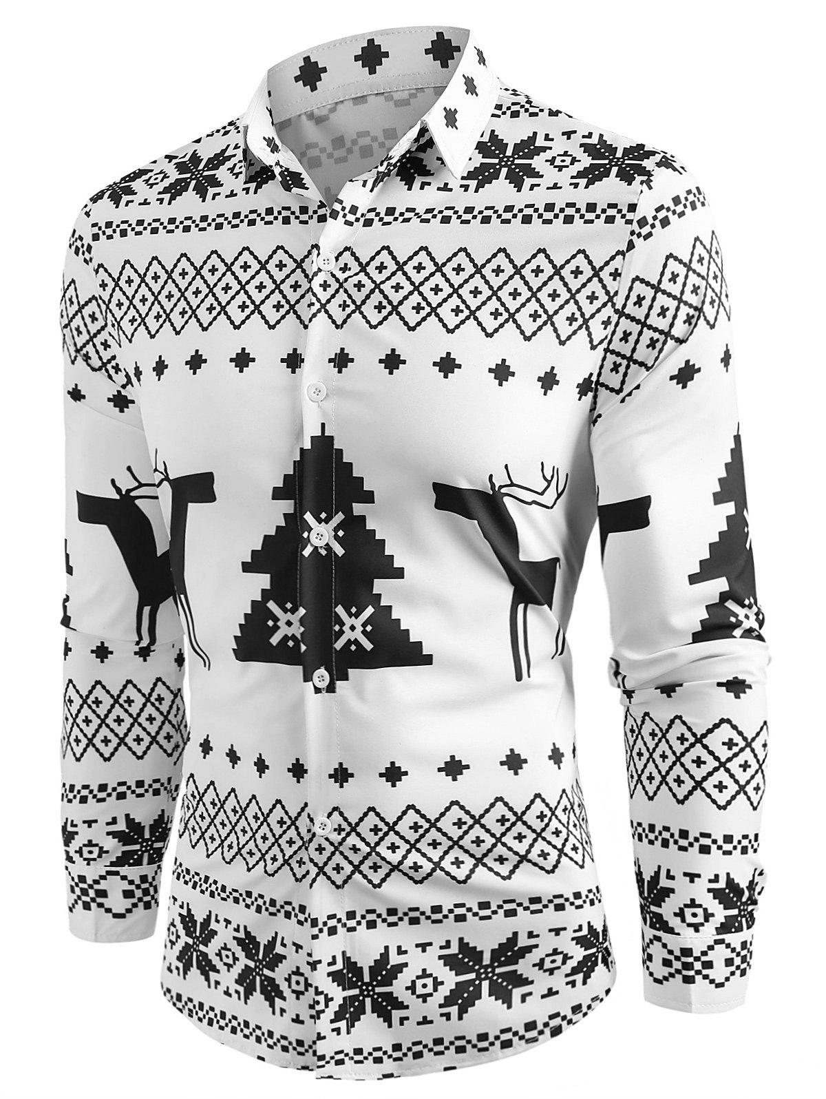 Cheap Christmas Geometry Pattern Long Sleeve Shirt