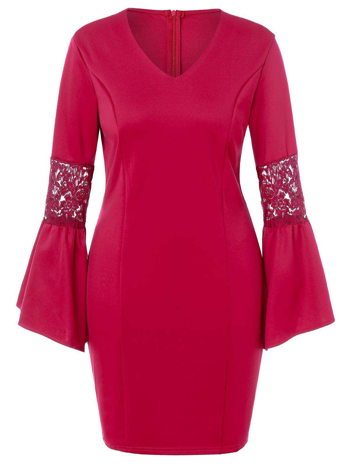Outfit Plus Size Lace Panel Flare Sleeve Dress