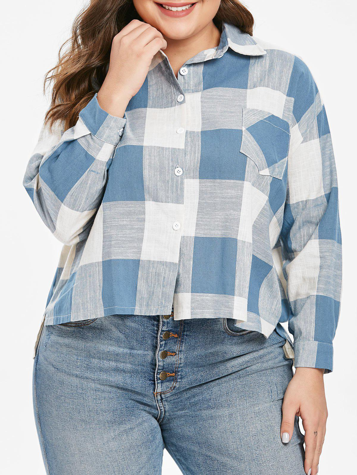 Cheap Plus Size Plaid Pocket High Low Shirt