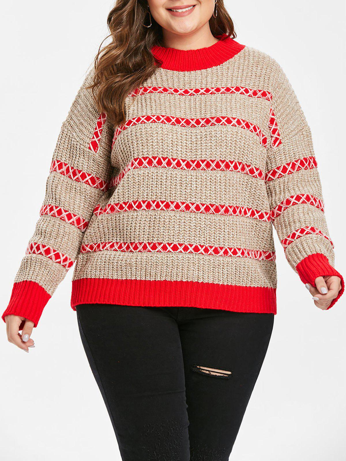 Buy Striped Panel Plus Size Color Block Sweater