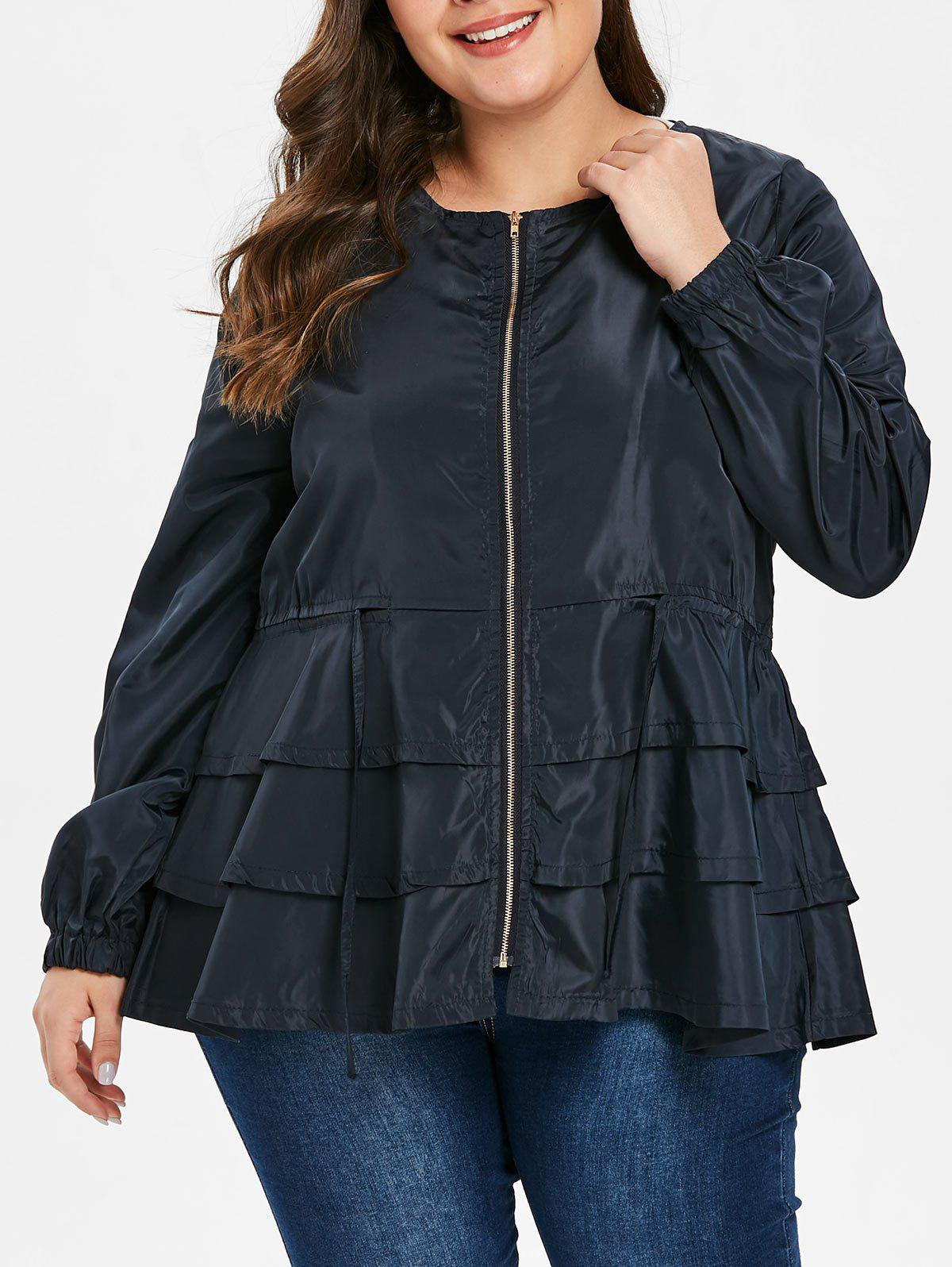 Affordable Plus Size Drawstring Waisted Tiered Jacket