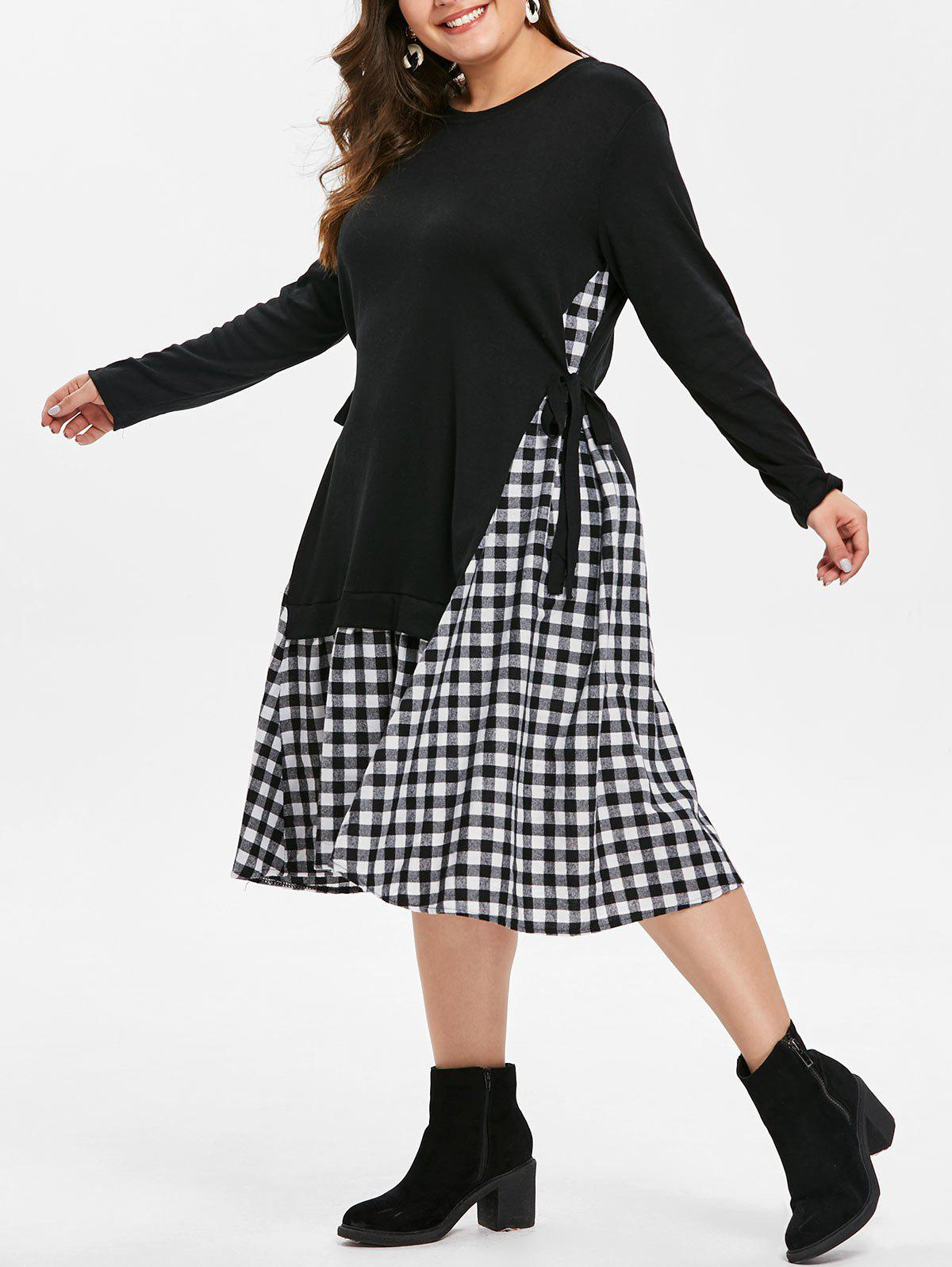Store Plus Size Long Sleeves Contrast Dress with Plaid