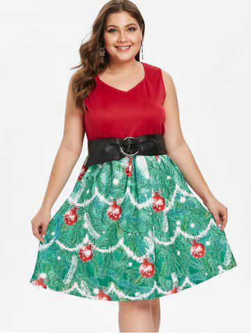 Plus Size Vintage Christmas High Waisted Printed Dress