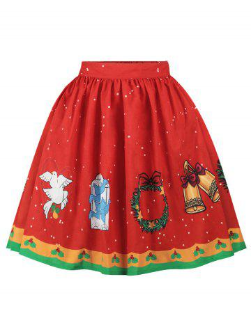 Plus Size A Line Christmas Graphic Skirt - RED - 3X