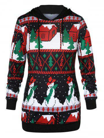 Plus Size Front Pocket Christmas Hoodie