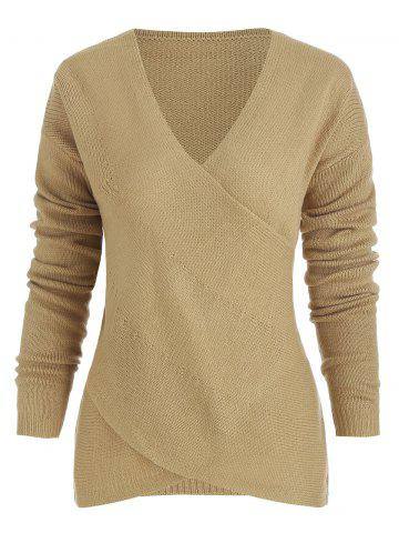 Criss Cross Wrap V Neck Knitted Sweater