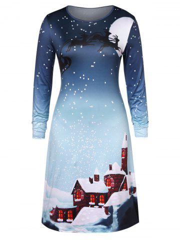 Christmas Plus Size Snowflake House Print Swing Dress