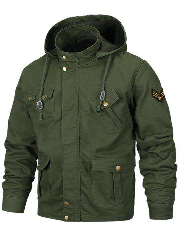 Multi Pocket Detachable Hooded Military Jacket