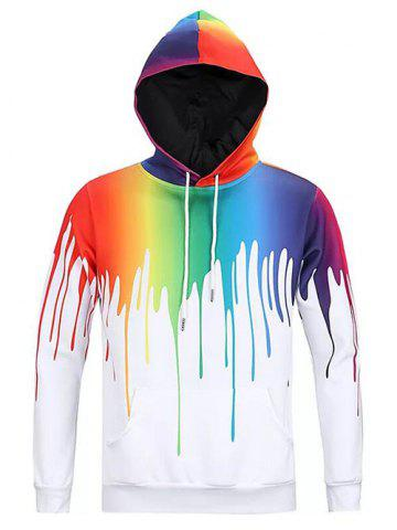 Colorful Painting Dripping Print Pouch Pocket Hoodie