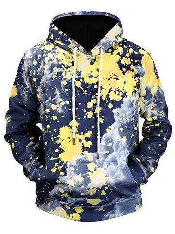 Splatter Painting Cloud Print Pouch Pocket Pullover Hoodie