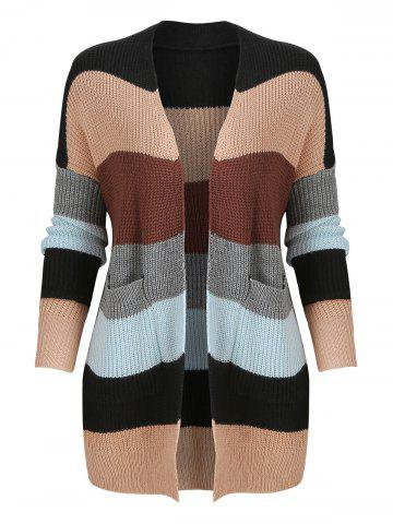 Color Block Knitted Cardigan with Front Pockets