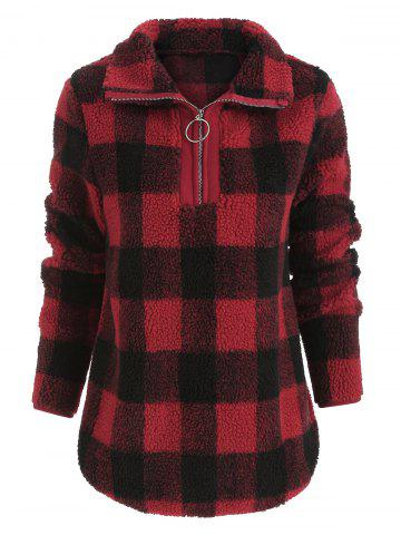 Faux Fluffy Half Zip Checked Sweatshirt