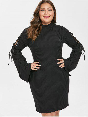 Plus Size Lace Up Sleeve Bodycon Dress