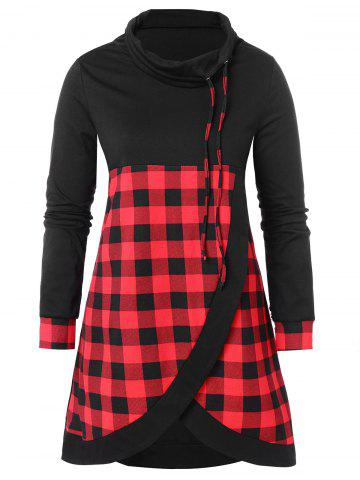 Drawstring Plus Size Plaid Panel Sweatshirt