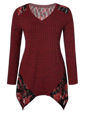 Plus Size V Neck Floral Splicing Handkerchief Sweater