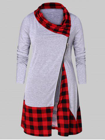 Plus Size Plaid Splicing Zip Fly T-shirt