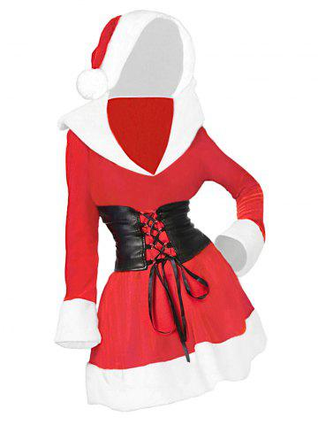 Plus Size Contrast Hooded Christmas Dress