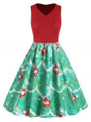 Plus Size Vintage Christmas High Waisted Printed Dress -