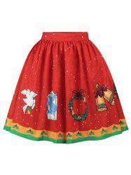 Plus Size A Line Christmas Graphic Skirt -
