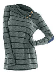 Long Sleeve Striped Cowl Neck T-shirt -