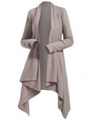 Belted Knitted Asymmetrical Cardigan -
