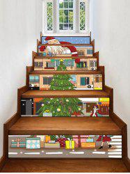 Christmas Santa House Pattern Removable Stair Stickers -