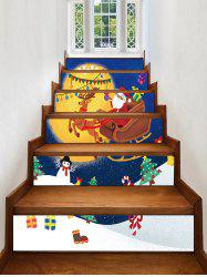 Christmas Moon Sleigh Pattern Removable Stair Stickers -