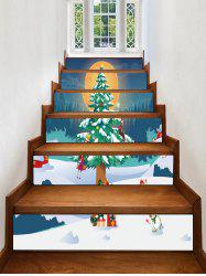 Christmas Tree Moon Pattern Removable Stair Stickers -