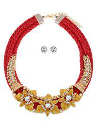 Multi-color Floral Pattern Rhinestoned Jewelry Set -