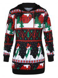 Plus Size Front Pocket Christmas Hoodie -