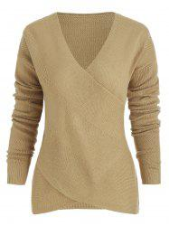 Criss Cross Wrap V Neck Knitted Sweater -