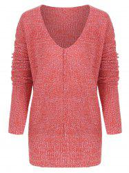 V Neck Tunic Knitted Sweater -