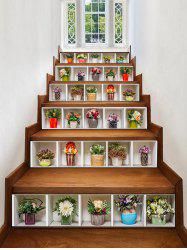 Potted Flowers Pattern Removable Stair Stickers -